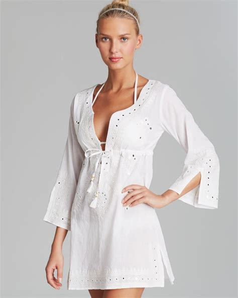 Cover Ups Debbie Katz Shanti Mirror Cotton Tunic Swim Cover Up In