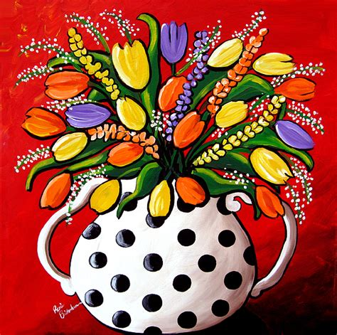 painted white polka dot on tulips in black and white polka dots painting by renie