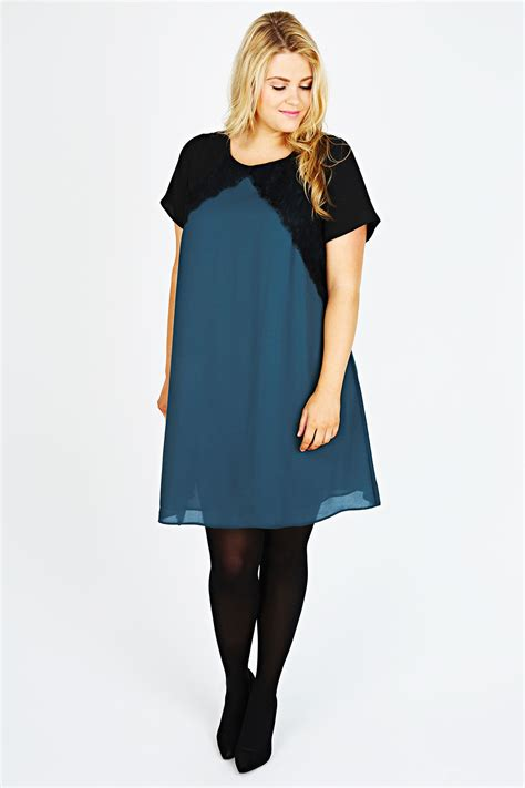 teal swing dress teal chiffon swing dress with black panels and lace trim