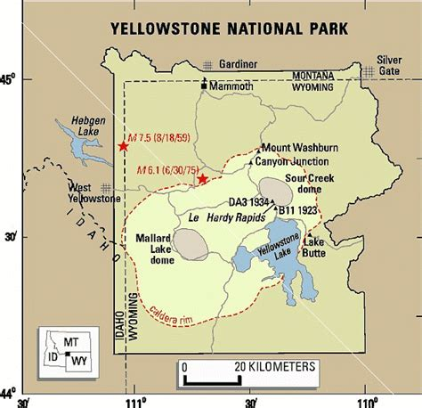 map of yellowstone park yellowstone caldera supervolcano map