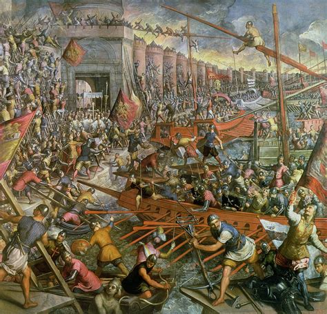painting attack the capture of constantinople in 1204 painting by jacopo