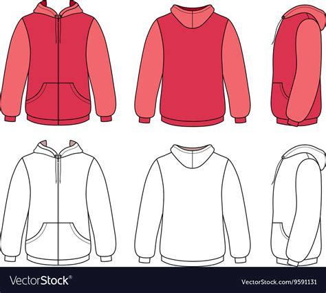 Hoodie Sweater Template Royalty Free Vector Image Sweater Template