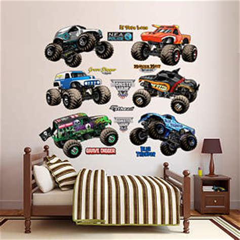 monster truck bedroom decor monster jam cartoon trucks collection wall decal shop