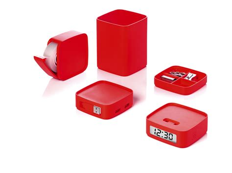 red office desk accessories accessoire de bureau mini totem set de bureau 5 en 1