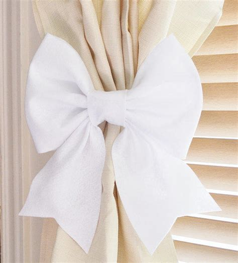 curtain bows two white bow curtain tie backs from bedbuggs on etsy home