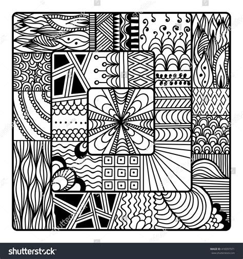 doodle drawing boxes square zentangle vector coloring book stock vector