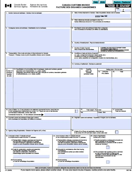 Blank Canada Customs Invoice * Invoice Template Ideas