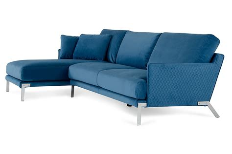 david achen modern blue velvet fabric sectional sofa