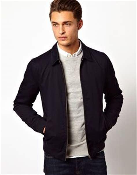 Jaket Forwad Harrington Black navy harrington jacket light grey crew neck jumper white ecru light grey oxford shirt