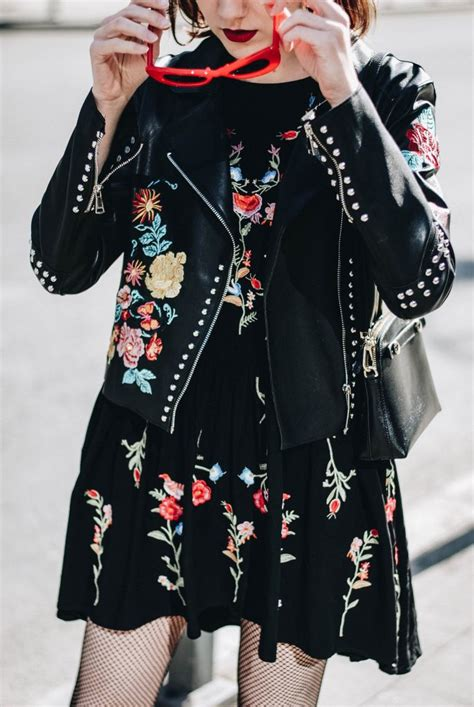 Flower Embroidery Jacket by How To Wear A Floral Embroidered Dress With Fishnet Tights