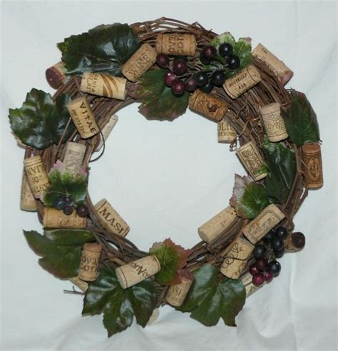 wine cork grapes w leaves handcrafted wreath on grapevine wreath form diy