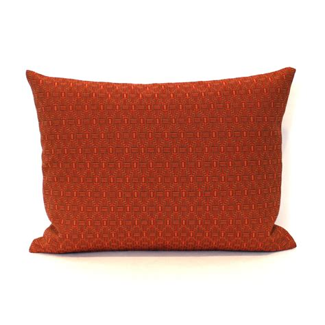 Rust Pillow by Lumbar Pillow Cover Rust Orange Geometric Decorative Oblong