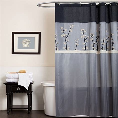 cocoa flower shower curtain cocoa flower grey fabric shower curtain bed bath beyond