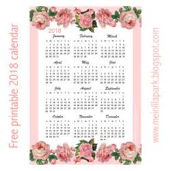 2018 Year At A Glance Calendar Printable Free Printable 2018 Calendar Year At A Glance