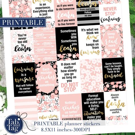 printable quotes planner printable quotes planner stickers for mambi happy planner