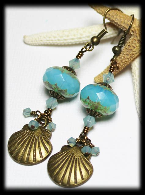 Handmade Shell Earrings - handmade beaded jewelry earrings seashell sea shell aqua