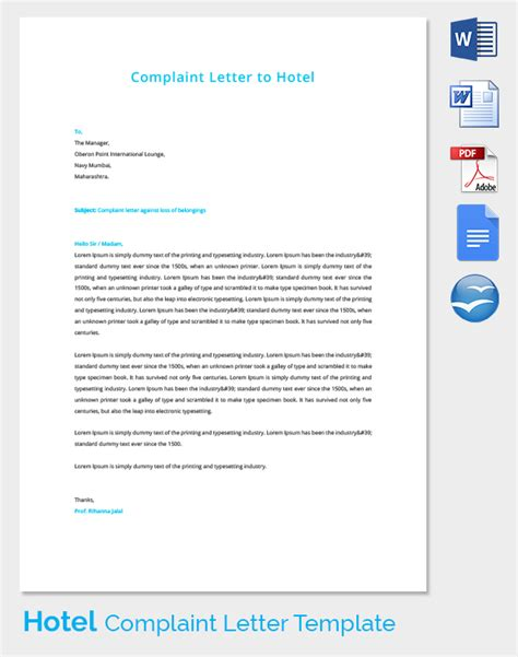 Complaint Letter Answer Hotel Complaint Letters 21 Free Word Pdf Documents