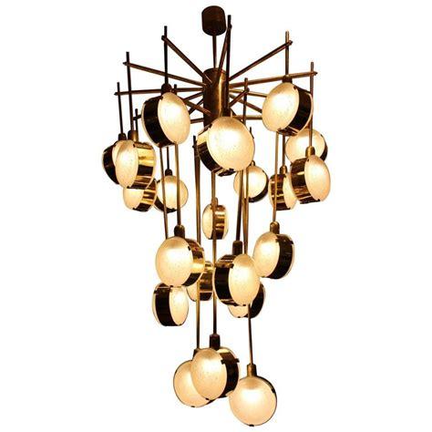 Brass Modern Chandelier Italian Mid Century Modern Brass And Glass Chandelier At 1stdibs