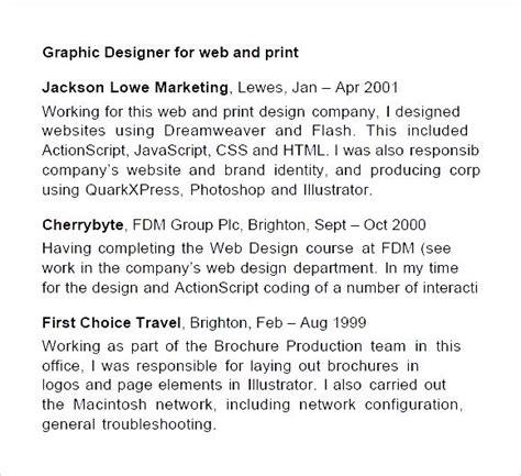 graphic designer curriculum vitae format pdf sle cv pdf graphic designer free sles exles
