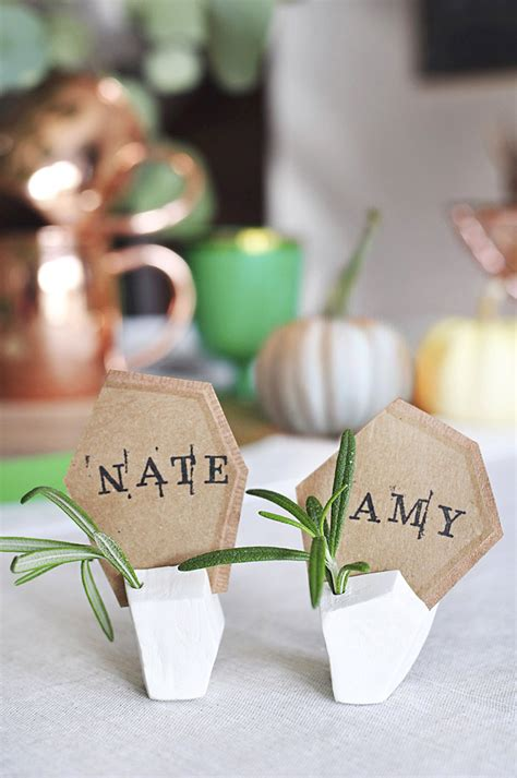 diy place card holders diy geometric clay place card holders design sponge