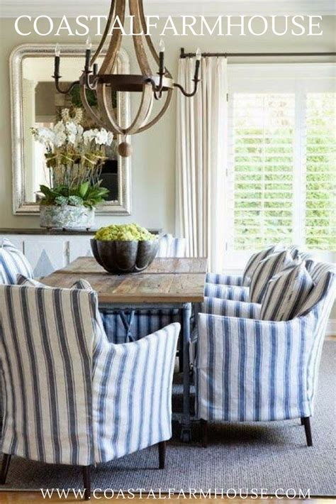 coastal farmhouse blue  white striped chair covers  dining room coastal farmhouse decor   dining room room decor dining room