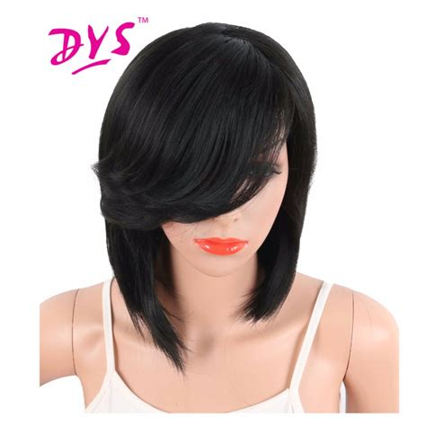 hairstyle with wigs with bangs for african women deyngs short straight synthetic side parting bob wigs with