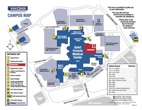 Emergency Department Floor Plan by Hospital Map Driving Directions Saint Francis Medical