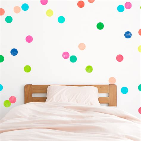 bright polka dots printed wall decal