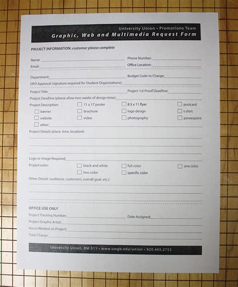 Uwgb Graphic Request Form On Behance Design Request Form Template