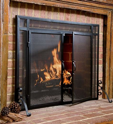 fire place cover steel flat guard screen fireplace screens plow hearth