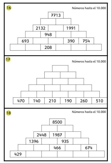 suma en piramides numericas de tercer grado de primaria actividades de ampliaci 211 n tiras de c 193 lculo mental aula pt