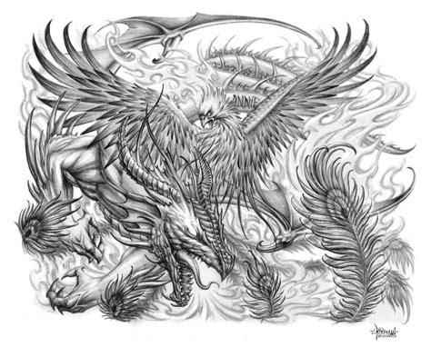 black and grey phoenix tattoo designs grey ink design by nightsqueen