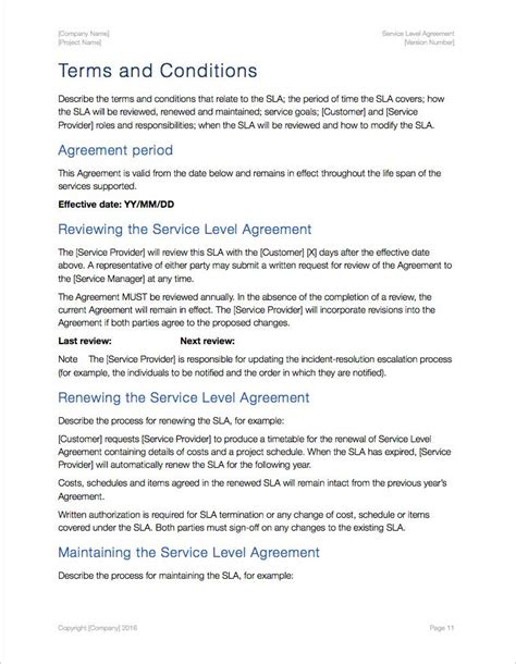 term of service template service level agreement template apple iwork pages numbers