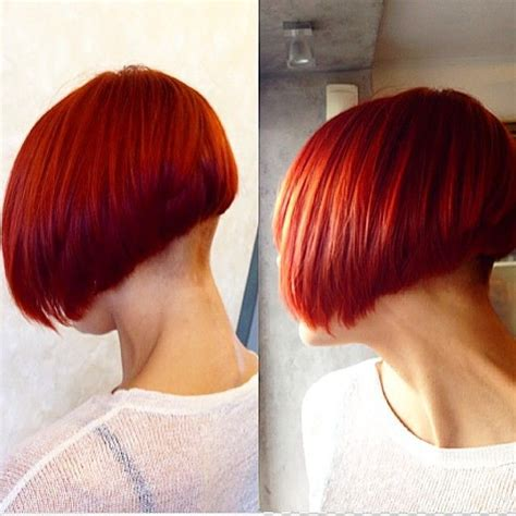 staked nape bobs lovely red undercut graduated bob with shaved nape