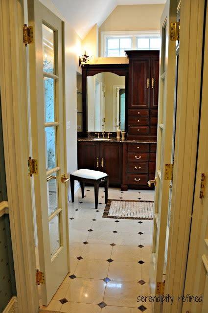 dark wood bathroom cabinet mirror serendipity refined master bath reveal french doors dark