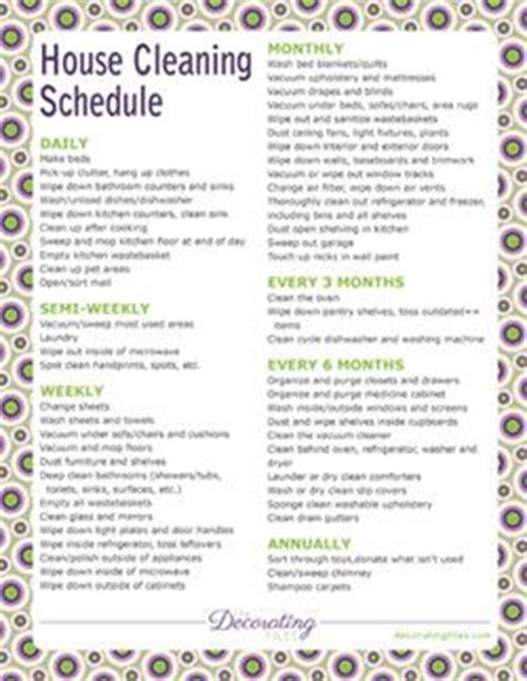 printable house cleaning schedule need to use this since