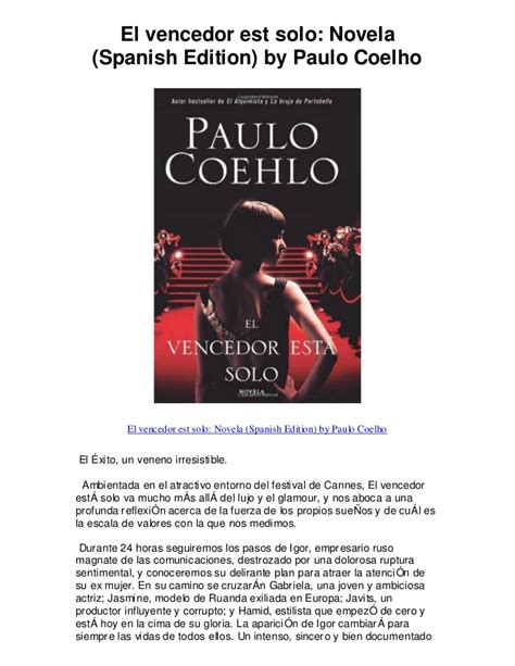 el vencedor est solo 840810165x el vencedor est solo novela spanish edition by pau 5 star review