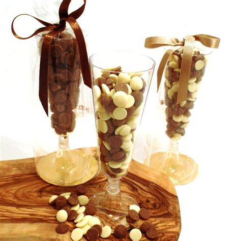 belgian chocolate drops in chagne glass by choklet