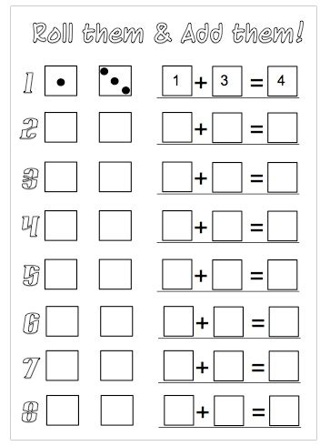 printable addition dice games roll the dice addition worksheets to download dice