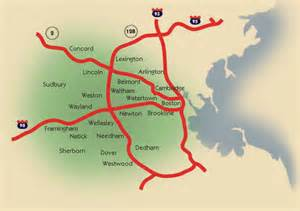 Map Of Boston Suburbs by Suburbs Of Boston Map