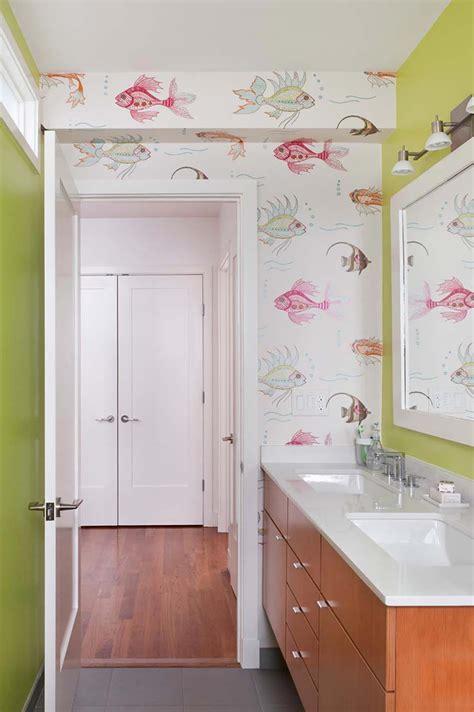 Charmant Papier Peint Salle De Bain 4 Murs #1: fraiche-coloree-salle-de-bain-design.jpg