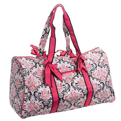 Quilted Travel Bag by Belvah Quilted Black Fuchsia Damask Large Duffle Bag