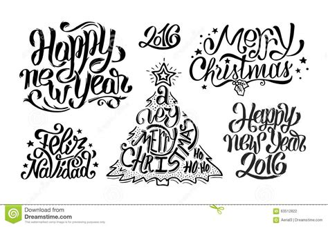 merry christmas  happy  year typography stock vector image