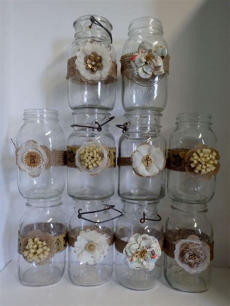 10 Mason Jar Wedding 50th Gold Anniversary Shabby Burlap