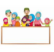 Board Template With Muslim Family In Colorful Clothes