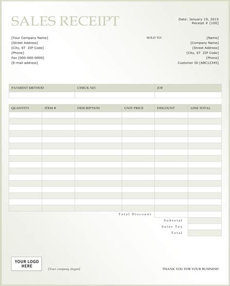 customer receipt template excel customer receipt template for free formtemplate