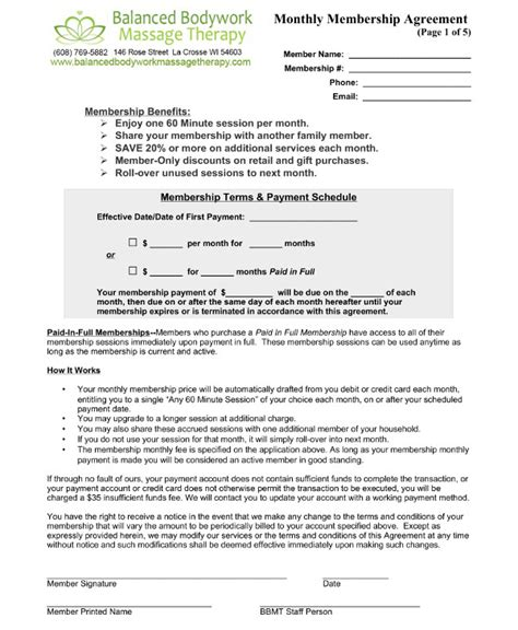 9 Massage Therapy Contract Exles Pdf Therapy Contract Template