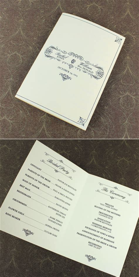4 page wedding program template with vintage typography