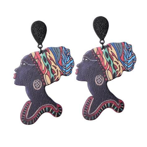wholesale vintage wholesale vintage style printed figure wood earrings