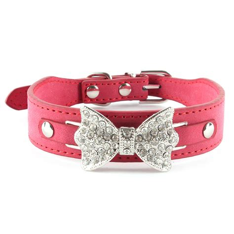 bling collars bling collar bow leather pet adjustable collar puppy cat choker ebay